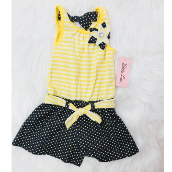 Little Lass Other - Little Lass Yellow Polka Dot Blue Dress 24Mos Girl